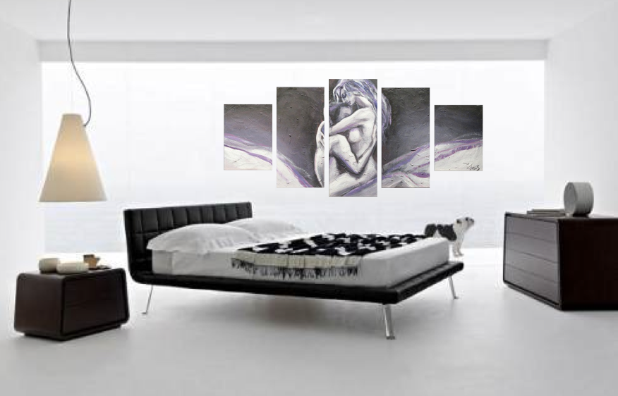 5 Piece Wall Decor Sensual Abstract Huge Canvas Art Grey Oil Painting Artwork