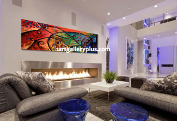 3 piece group canvas, living room huge pictures, abstract artwork, colorful art, panoramic canvas print
