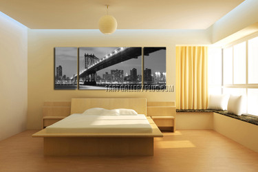 3 piece canvas print, bedroom artwork, brooklyn bridge huge pictures, city multi panel art, grey canvas photography