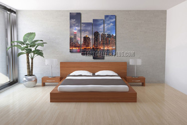 4 piece large pictures, bedroom artwork, blue wall decor, new york city photo canvas, cityscape canvas print