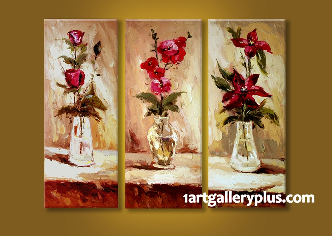 3 piece multi panel art floral wall decor red flowers canvas photography