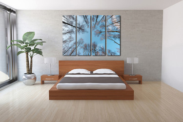 4 piece huge canvas print, bedroom photo canvas, scenery wall decor, blue art, trees multi panel canvas