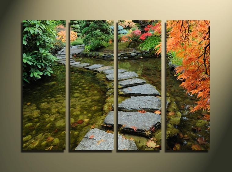 4 piece canvas print, home decor, pathway artwork, green multi panel art, scenery canvas photography