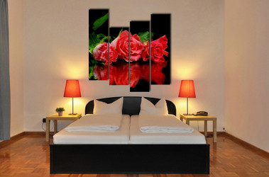 4 piece artwork, bedroom group canvas, floral canvas print, red canvas wall art, rose art