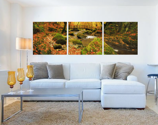 3 piece huge pictures, living room multi panel art, scenery wall decor, green photo canvas, panoramic artwork