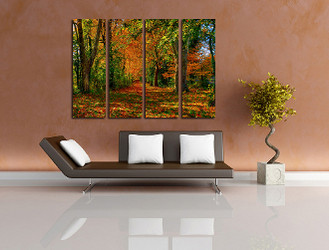 4 piece huge canvas art, living room multi panel canvas, scenery photo canvas, green trees artwork, green canvas wall art