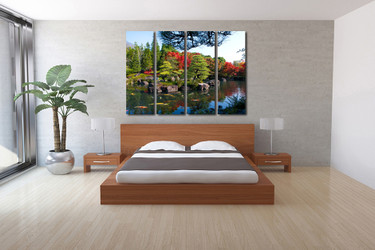 4 piece multi panel art, bedroom large pictures, scenery artwork, green wall decor, trees canvas print