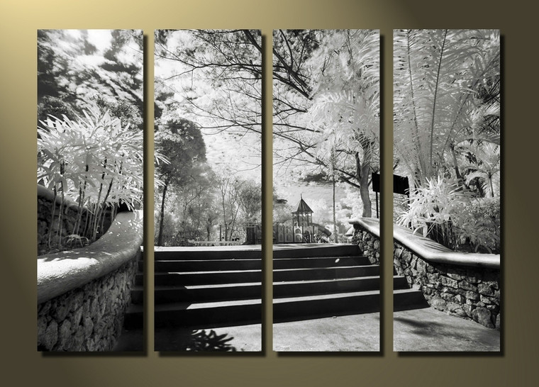 4 piece canvas print, home decor, gray photo canvas, scenery art, trees huge canvas print
