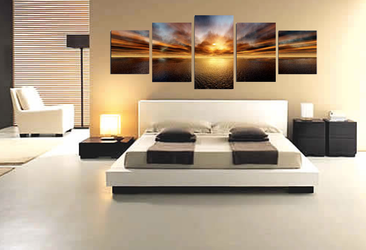 5 piece multi panel canvas, living room photo canvas, orange art, ocean wall decor, panoramic canvas print