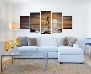 5 piece art, living room group canvas, abstract huge canvas print, sensual panoramic wall decor