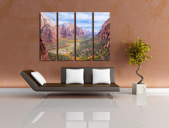 4 piece canvas wall art, living room art, landscape photo canvas, brown multi panel art, mountain huge canvas print