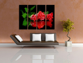 4 piece canvas photography, red rose art, floral group canvas, flowers huge canvas print, floral art