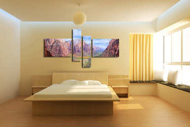 4 piece canvas wall art, bedroom large pictures, brown huge canvas print, mountain art, landscape group canvas