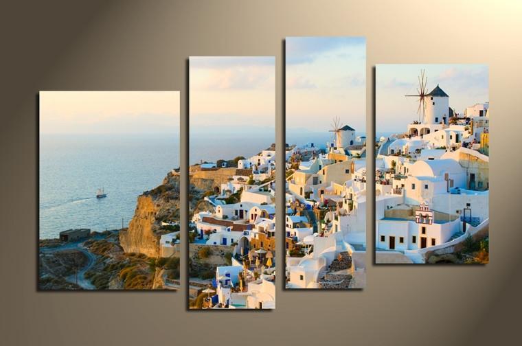 4 piece canvas print, home decor, city artwork, white huge canvas art, cityscape canvas photography