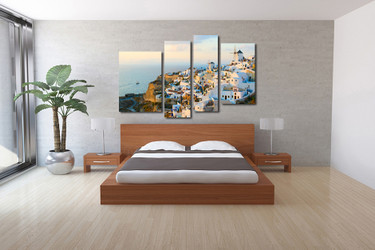 4 piece canvas wall art, bedroom canvas print, city photo canvas, white multi panel art, cityscape art