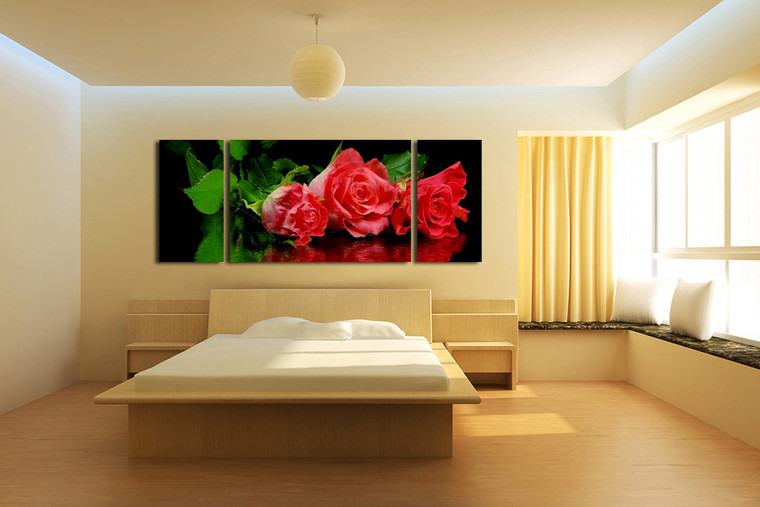 3 piece large canvas, bedroom huge canvas art, red rose artwork, floral group canvas, flower canvas wall art