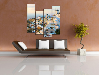 4 piece group canvas, living room art, city wall decor, white huge canvas print, cityscape artwork