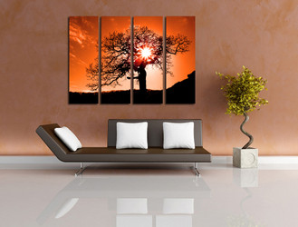 4 piece art, living room canvas wall art, orange huge canvas art, scenery large pictures, tree artwork