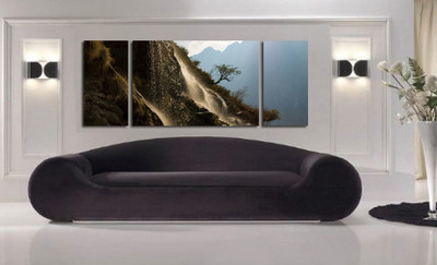 3 piece huge canvas art, living room artwork, landscape wall decor, brown photo canvas, panoramic art