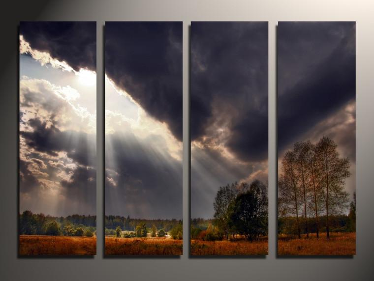 4 piece canvas print, home decor, scenery photo canvas, gray artwork, sunshine huge pictures