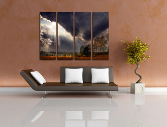 4 piece canvas wall art, living room art, scenery huge canvas print, gray multi panel canvas, sunshine large pictures