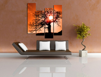 4 piece canvas wall art, living room huge canvas art, orange scenery group canvas, scenery decor, tree art