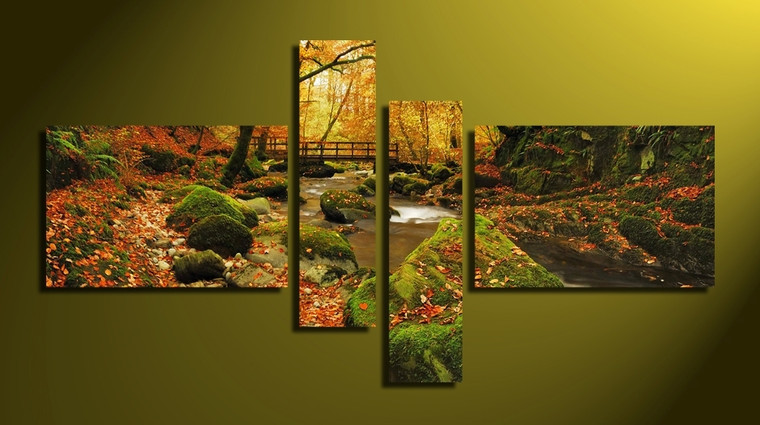 4 piece large canvas, home decor, green scenery canvas wall art, scenery huge canvas print, autumn art