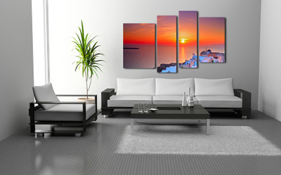 4 piece group canvas, living room art, city wall decor, orange huge canvas print, cityscape artwork