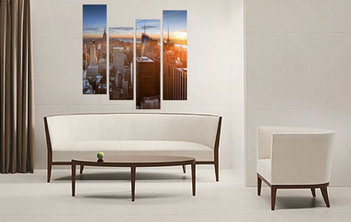4 piece huge canvas art, living room wall decor, cityscape huge pictures, orange group canvas, new york city multi panel art
