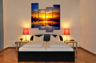 4 piece huge canvas art, bedroom photo canvas, scenery wall decor, orange art, panoramic canvas print,