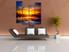 4 piece multi panel art, living room multi panel canvas, scenery art, orange large pictures, panoramic wall decor