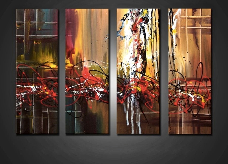 4 Piece Large Pictures Colorful Abstract Multi Panel Art Oil Paintings Canvas Wall Decor