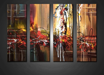 4 piece canvas wall art, living room multi panel canvas, colorful artwork, abstract wall decor, oil painting art