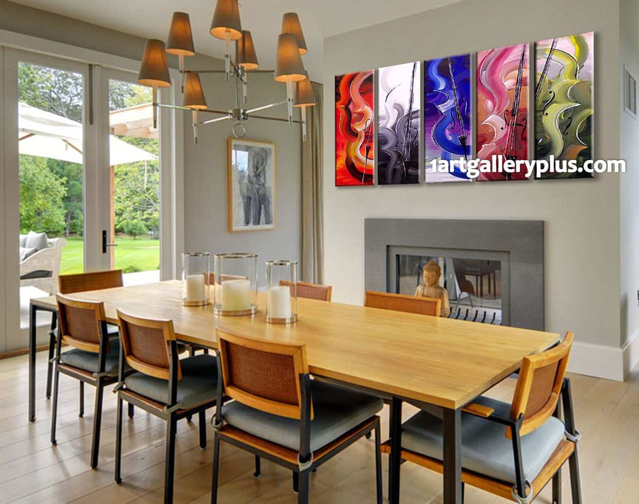 5 Piece Decor, Abstract Colorful Multi Panel Art, Oil Painting Group Canvas