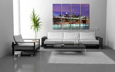 4 piece art, living room huge canvas art, brooklyn bridge photo canvas, purple huge canvas print, cityscape wall decor