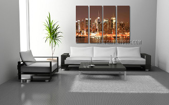 4 piece canvas wall art, living room large pictures, brown artwork, new york city huge canvas art, cityscape photo canvas