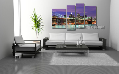 4 piece canvas wall art, living room photo canvas, purple wall decor, city large pictures, brooklyn bridge