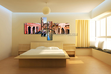 4 piece canvas print, colorful city huge canvas art, city canvas wall art, city huge canvas photography