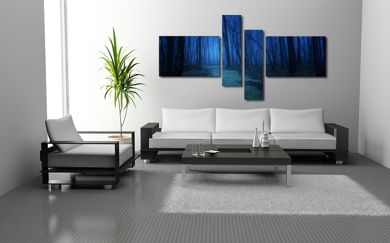 4 piece canvas wall art, living room large pictures, blue scenery canvas photography, scenery decor