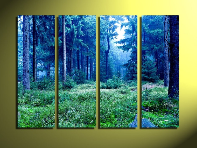 4 piece canvas wall art, home decor, scenery huge pictures, blue art, trees canvas photography