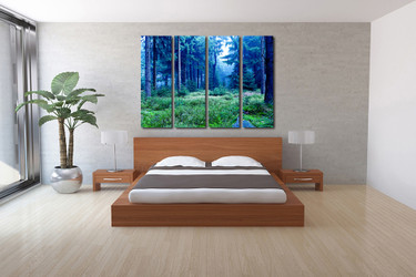 4 piece artwork, bedroom large pictures, scenery canvas print, blue photo canvas, trees multi panel art