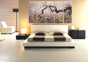 5 piece canvas print, bedroom multi panel canvas, floral artwork, flowers wall decor, oil painting canvas photography
