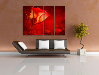 4 piece canvas print, living room group canvas, floral art, rose flowers huge canvas art