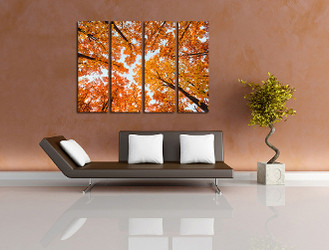 4 piece photo canvas, living room large pictures, orange scenery canvas print, scenery canvas photography