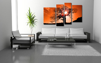 4 piece large canvas, living room canvas wall decor, orange scenery group canvas, scenery canvas photography, scenery art