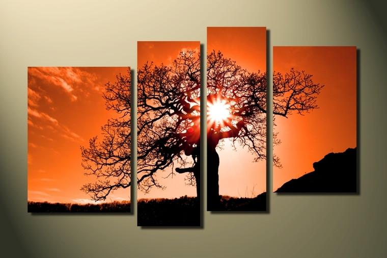 4 piece group canvas, home decor, orange scenery huge canvas art, scenery canvas photography, scenery artwork