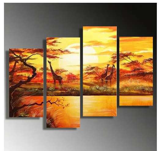 4 piece canvas print, home decor, giraffe large pictures, wildlife art, yellow canvas photography