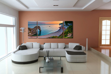 3 piece large pictures, living room group canvas, ocean art, blue wall decor, panoramic artwork