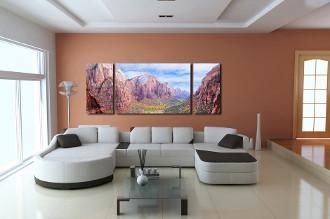 3 piece huge canvas art, living room artwork, landscape wall decor, brown photo canvas, panoramic art