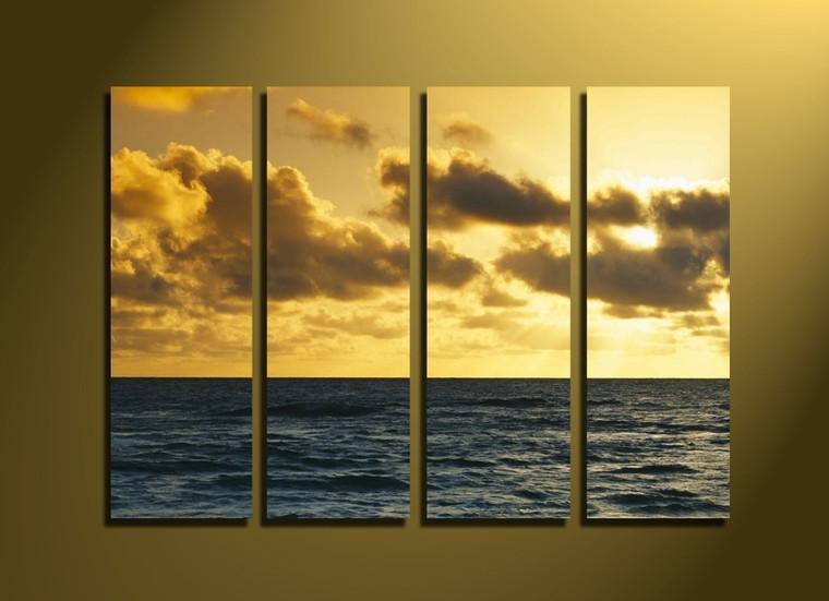 4 piece canvas print, yellow ocean photo canvas, ocean canvas wall art, sea huge pictures, home decor